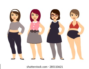 Plus size fashion. Young and pretty cartoon style chubby girl wearing cute clothes.