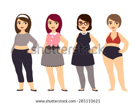 7e2d145785623 Plus size fashion. Young and pretty cartoon style chubby girl wearing cute  clothes.