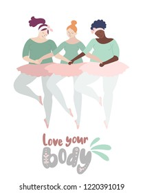 Plus size happy women to do balet. Body positive and diversity concept. Active lifestyle illustration
