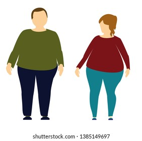 Plus size man and woman. Body positive concept. I love my body. Attractive overweight couple. For Fat acceptance movement, no fatphobia. Illustration on white background