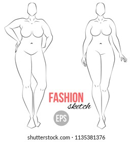 Plus size model. Curvy body.  Woman's figure sketch. Different poses. Template for drawing. Vector outline girl model template for fashion sketching. Woman's body. Fashion illustration.