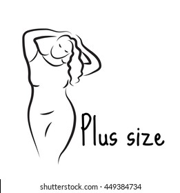 Plus size model woman sketch. Hand drawing style. Fashion logo with overweight. Curvy body icon design. Vector illustration