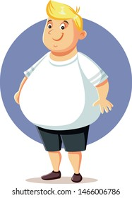 Plus Size Overweight Man Vector Cartoon. Obese guy character design illustration