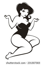 plus size pin up girl in cartoon style