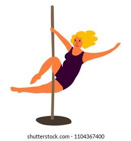Plus size  pole dance woman. Body positive concept. Cartoon character. Vector illustration.