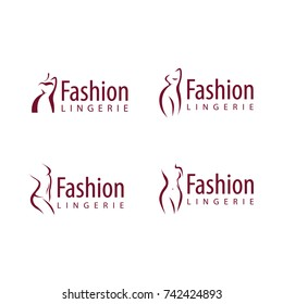 Plus size woman vector logo concept. Curvy lines, stylish design. Can be used for clothes and lingerie brands logotypes. Isolated on white background.