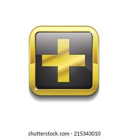 Plus Square Vector Golden Black Web Icon Button