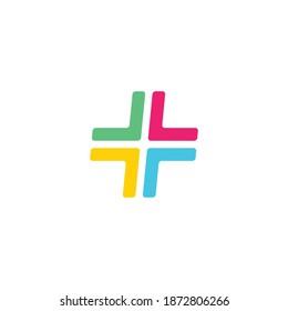 Plus symbol consisting of colored Arrow signs. Vector