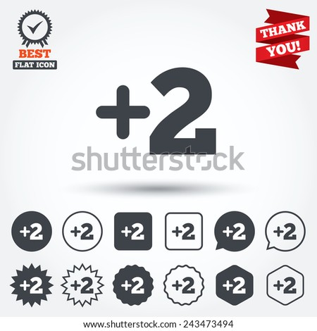 Plus Two Sign Add Two Symbol Stock Vector Royalty Free 243473494