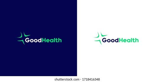 Plus vector symbol. Abstract line medical health logo icon design. Vector cross icon template