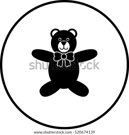 Plush Bear Bow Tie Symbol Stock Vector Royalty Free 520674139