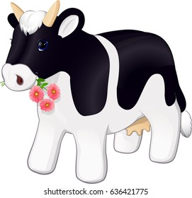 Plush cow with flowers