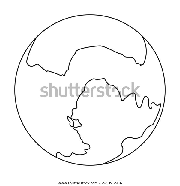 Pluto icon in outline style isolated on white background. Planets symbol stock vector illustration.