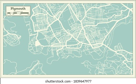 Plymouth Great Britain (United Kingdom) City Map in Retro Style. Outline Map. Vector Illustration.