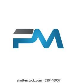 PM company linked letter logo blue