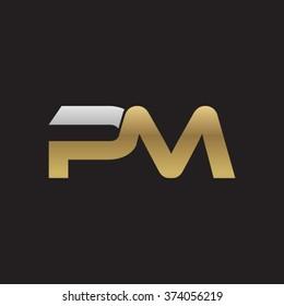PM company linked letter logo golden silver black background