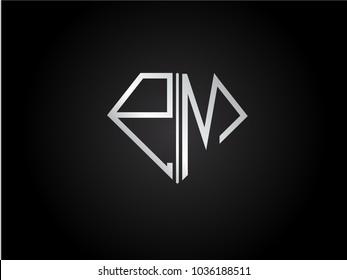 PM diamond shape silver color design