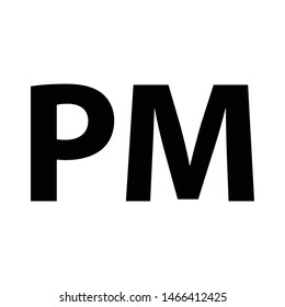 PM icon. PM time vector icon.
