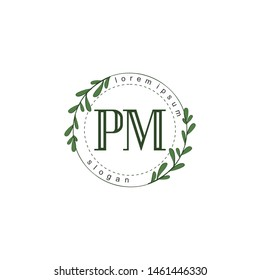 PM Initial beauty floral logo template