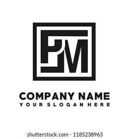 PM initial box letter logo template vector