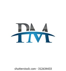 PM initial company blue swoosh logo