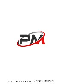 PM initial company red gray swoosh logo