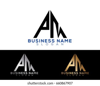 PM initial letters linked triangle shape logo