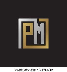 PM initial letters looping linked square elegant logo golden silver black background