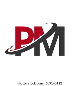 PM initial logo company name colored red and black swoosh design, isolated on white background. vector logo for business and company identity.