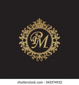 PM initial luxury ornament monogram logo