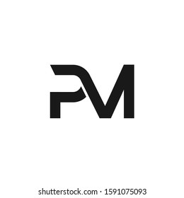 PM letters initial logo design vector