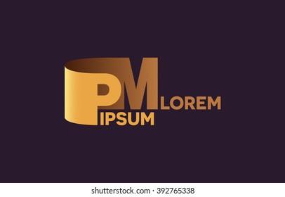 PM letters logo, P and M letters logo alphabet design.