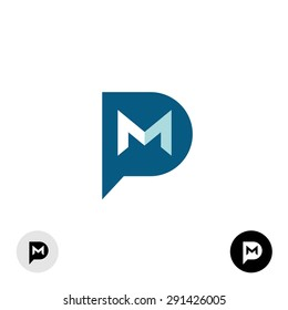 PM letters logo. Private message abbreviation with speech bubble and mail envelope shape.