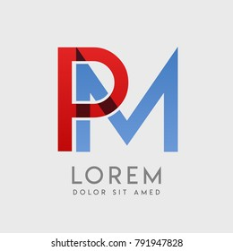 """PM logo letters with """"blue and red"""" gradation"""