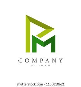 PM logo, MP logo, initial name business logo template