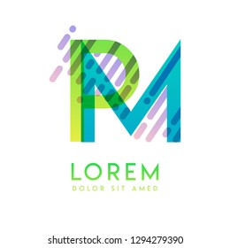 PM logo with the theme of galaxy speed and style that is suitable for creative and business industries. MP Letter Logo design for all webpage media and mobile, simple, modern and colorful