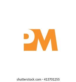 PM Logo. Vector Graphic Branding Letter Element. White Background