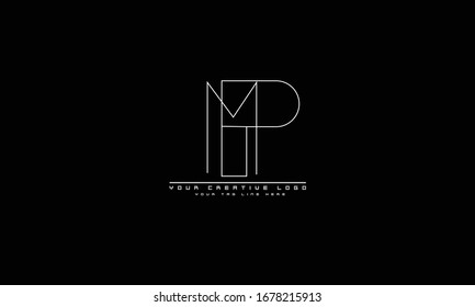 PM MP abstract vector logo monogram template