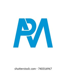 PM or MP logo initial letter design template vector