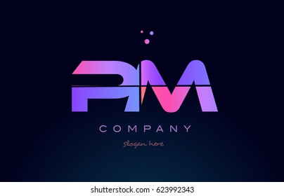 pm p l creative color blue background pink purple blue magenta alphabet letter company logo vector icon design