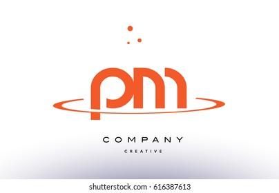 PM P L creative orange swoosh dots alphabet company letter logo design vector icon template