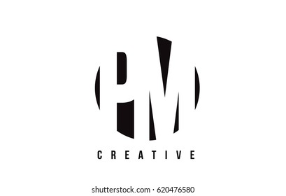 PM P L White Letter Logo Design with Circle Background Vector Illustration Template.