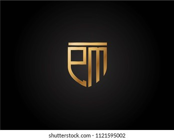 PM shield shape Letter Design in gold color