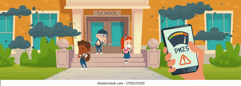 PM2.5 air pollution smartphone application. PM 2.5 dust detector. Vector cartoon illustration of kids cough from smoke, dirty air and smog clouds in front of school