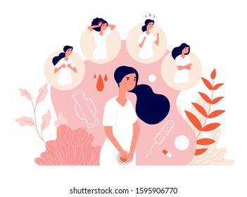 PMS. Female abdominal pain, menstrual syndrome and change behavior. Woman health, emotion and feelings. Vector premenstrual symptom concept
