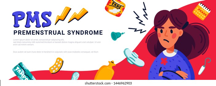 PMS horizontal banner concept. Woman suffering from premenstrual syndrome and related products such as sanitary pads and tampons. Flat style vector illustration
