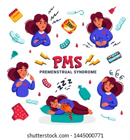 PMS. Set of woman suffering from premenstrual syndrome. Various symptoms of menstrual cycle and related products such as sanitary pads and tampons. Flat style vector illustration