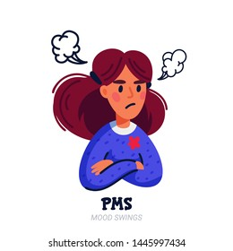 PMS symptoms concept. Woman suffering from premenstrual syndrome such as mood swings. Flat style vector illustration on white background