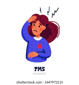 PMS symptoms concept. Woman suffering from premenstrual syndrome such as headache. Flat style vector illustration on white background