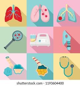 Pneumonia icon set. Flat set of pneumonia vector icons for web design